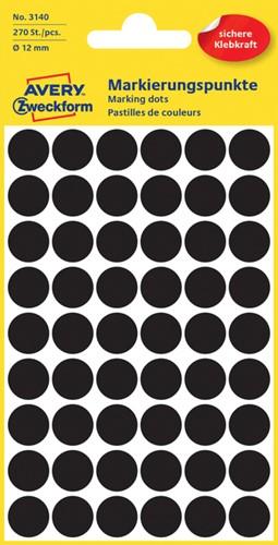 Etiket Avery Zweckform 3140 rond 12mm zwart 270 stuks.