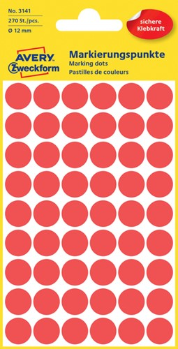 Etiket Avery Zweckform 3141 rond 12mm rood 270 stuks.