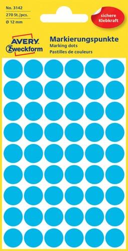 Etiket Avery Zweckform 3142 rond 12mm blauw 270 stuks.
