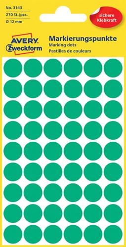 Etiket Avery Zweckform 3143 rond 12mm groen 270 stuks.