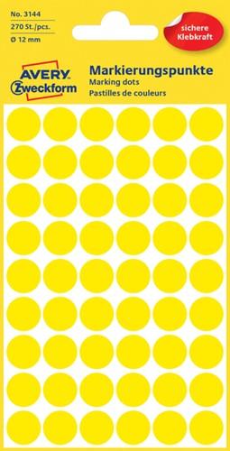 Etiket Avery Zweckform 3144 rond 12mm geel 270 stuks.