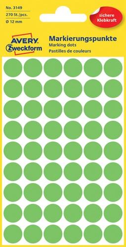 Etiket Avery Zweckform 3149 rond 12mm lichtgroen 270 stuks.