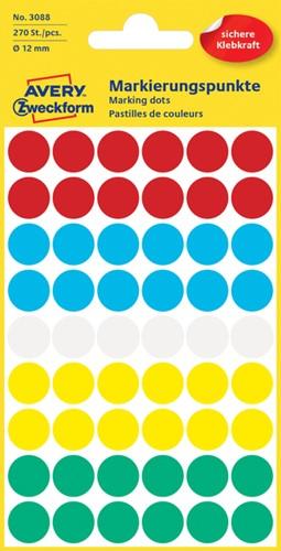 Etiket Avery Zweckform 3088 rond 12mm assorti kleuren 270 stuks.