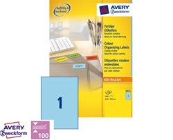 Etiket Avery Zweckform 3471 A4 210x297mm blauw 100 stuks.