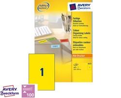 Etiket Avery Zweckform 3473 A4 210x297mm geel 100 stuks.