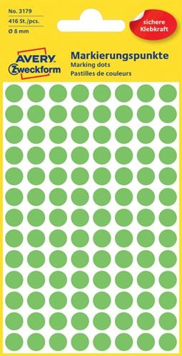 Etiket Avery Zweckform 3179 rond 8mm lichtgroen 416 stuks.