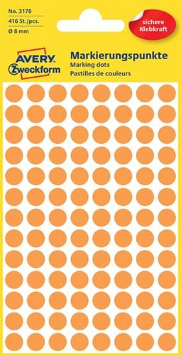 Etiket Avery Zweckform 3178 rond 8mm oranje 416 stuks.