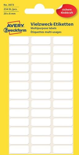 Etiket Avery Zweckform 3073 20x8mm wit 234 stuks.