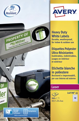 Etiket Avery L4778-20 45.7x21.2mm polyester wit 960 stuks.