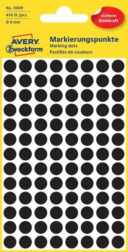 Etiket Avery Zweckform 3009 rond 8mm zwart 416 stuks.