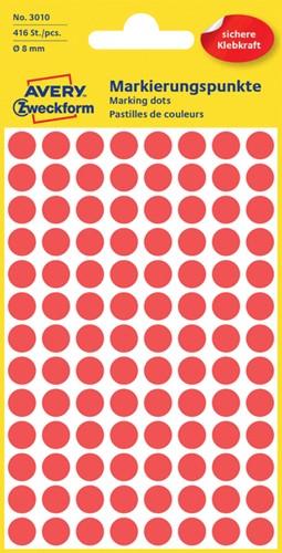 Etiket Avery Zweckform 3010 rond 8mm rood 416 stuks.