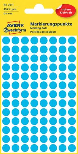 Etiket Avery Zweckform 3011 rond 8mm blauw 416 stuks.
