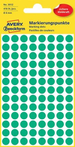 Etiket Avery Zweckform 3012 rond 8mm groen 416 stuks.