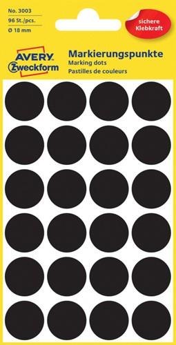 Etiket Avery Zweckform 3003 rond 18mm zwart 96 stuks.
