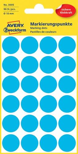 Etiket Avery Zweckform 3005 rond 18mm blauw 96 stuks.