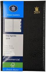 Agenda 2019 Ryam Commercial 1 dag per pagina 11,5x18,5cm 14 maanden met maandtabs omslag zwart wit papier (900093).