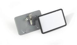 Badge Durable met grijze omkadering, plastic venster en combiklem 40x75mm 25 stuks.
