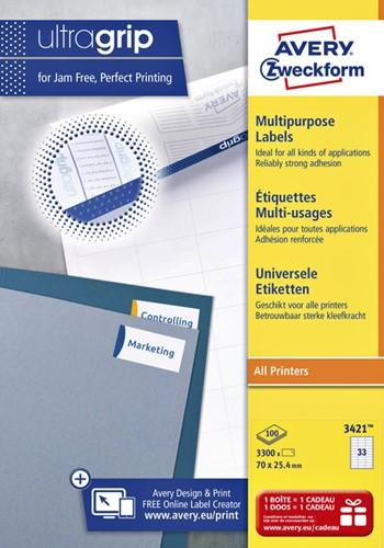 Etiket Avery Zweckform 3421 A4 70x25.4mm wit 100 vel / 3.300 stuks universeel gebruik.