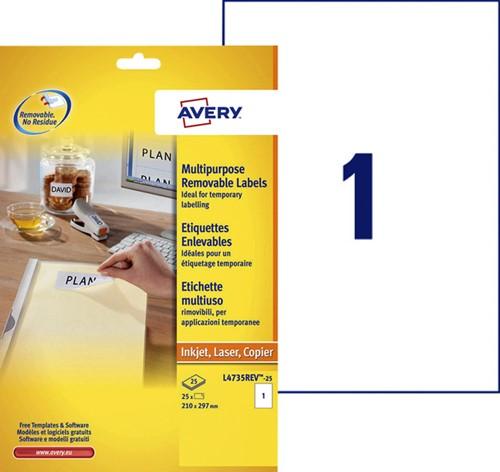 Etiket Avery L4735REV-25 210x297mm A4 afneembaar wit 25 stuks.