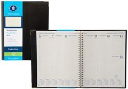 Agenda 2018 Ryam Executive 7 dagen per 2 pagina's 17x22cm met spiraal omslag zwart creme papier (900107).