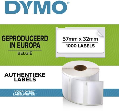 Etiket Dymo 11354 labelwriter 57x32mm verwijderbaar wit 1000 stuks.