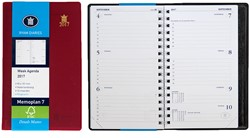 Zakagenda 2018 Ryam Memoplan 7 dagen per 2 pagina's 8,8x15,1cm staand model met spiraal omslag bordeaux wit papier.