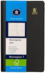 Zakagenda 2019 Ryam Memoplan 7 dagen per 2 pagina's 8,8x15,1cm staand model met spiraal omslag zwart wit papier (900073).