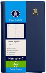 Zakagenda 2019 Ryam Memoplan 7 dagen per 2 pagina's 8,8x15,1cm staand model met spiraal omslag blauw wit papier.
