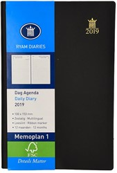 Zakagenda 2019 Ryam Memoplan 1 dag per pagina 10x15,3cm staand model omslag zwart wit papier.