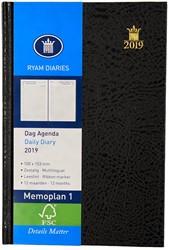 Zakagenda 2019 Ryam Memoplan 1 dag per pagina 10x15,3cm staand model omslag Mundior zwart wit papier (900074).