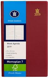 Zakagenda 2019 Ryam Memoplan 7 dagen per 2 pagina's 9x15,1cm staand model omslag bordeaux wit papier (900190).