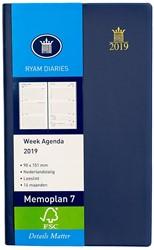 Zakagenda 2019 Ryam Memoplan 7 dagen per 2 pagina's 9x15,1cm staand model omslag blauw wit papier.