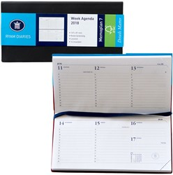 Zakagenda 2018 Ryam Memoplan 7 dagen per 2 pagina's 8,1x16,9cm liggend model omslag zwart wit papier (900102).
