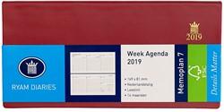 Zakagenda 2019 Ryam Memoplan 7 dagen per 2 pagina's 8,1x16,9cm liggend model omslag Suprema bordeaux wit papier (900189).