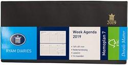 Zakagenda 2019 Ryam Memoplan 7 dagen per 2 pagina's 8,1x16,9cm liggend model omslag zwart wit papier (900102).