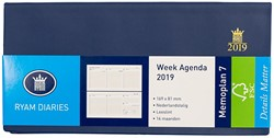 Zakagenda 2019 Ryam Memoplan 7 dagen per 2 pagina's 8,1x16,9cm liggend model omslag blauw wit papier.