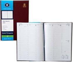 Agenda 2018 Ryam Weekly 7 dagen per 2 pagina's 21x29,7cm omslag bordeaux wit papier (900191).