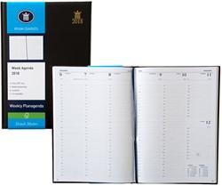 Agenda 2018 Ryam Weekly 7 dagen per 2 pagina's 21x29,7cm omslag zwart wit papier (900104).