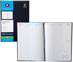 Agenda 2018 Ryam Weekly 7 dagen per 2 pagina's 21x29,7cm omslag blauw wit papier.