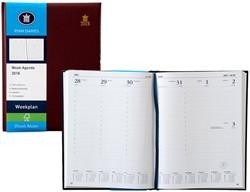 Agenda 2018 Ryam Weekplan 7 dagen per 2 pagina's 17x22cm omslag bordeaux wit papier (900185).
