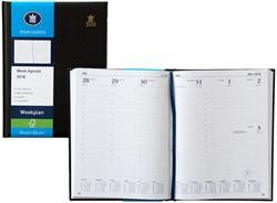 Agenda 2018 Ryam Weekplan 7 dagen per 2 pagina's 17x22cm omslag zwart wit papier (900096).