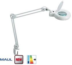 Loeplamp Maul Viso met tafelklem wit 3-diptrieen (1,75 voudige vergroting) doorsnee 12.7cm inclusief 22W spaarlamp.