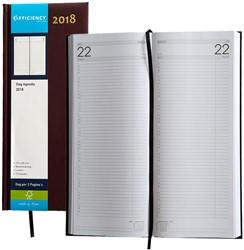 Agenda 2018 Ryam Efficiency lang 1 dag per 2 pagina's 14x34cm omslag bordeaux wit papier.