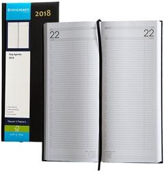 Agenda 2018 Ryam Efficiency lang 1 dag per 2 pagina's 14x34cm omslag zwart wit papier.