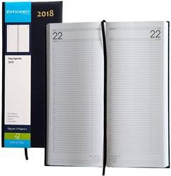Agenda 2018 Ryam Efficiency lang 1 dag per 2 pagina's 14x34cm omslag blauw wit papier.
