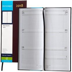 Agenda 2018 Ryam Efficiency lang 7 dagen per 2 pagina's 14x34cm omslag bordeaux wit papier.