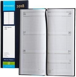 Agenda 2018 Ryam Efficiency lang 7 dagen per 2 pagina's 14x34cm omslag blauw wit papier.