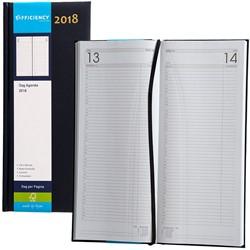 Agenda 2018 Ryam Efficiency lang 1 dag per pagina 14x34cm omslag blauw wit papier.