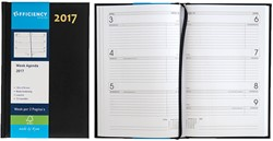 Agenda 2018 Ryam Efficiency 7 dagen per 2 pagina's 13,5x21cm omslag zwart wit papier.