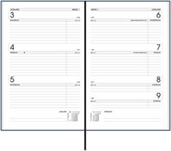 Agenda 2018 Ryam Efficiency 7 dagen per 2 pagina's 13,5x21cm omslag blauw wit papier.